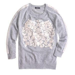J. Crew Cashmere Wool GrayEmbossed Floral Sweater